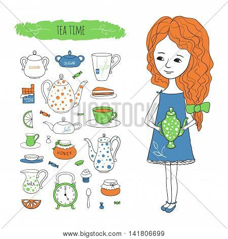 Tea time. Sweet girl with a kettle and tea accessories. Vector illustration drawn by hand in cartoon style.