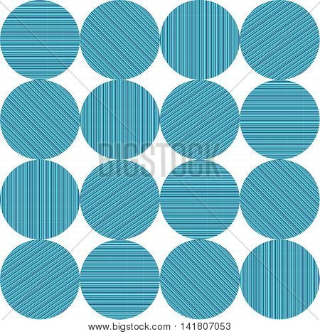Circles with blue turquoise and green stripes in a pattern.