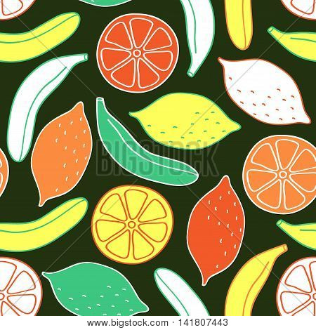 Seamless pattern of bananas and lemons. Bright colorful fruits on black background. Vector image drawn by hand in cartoon style.