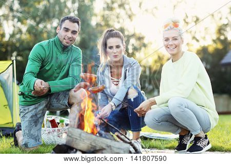 Picture showing group of friends preparing marshmallow on campfire