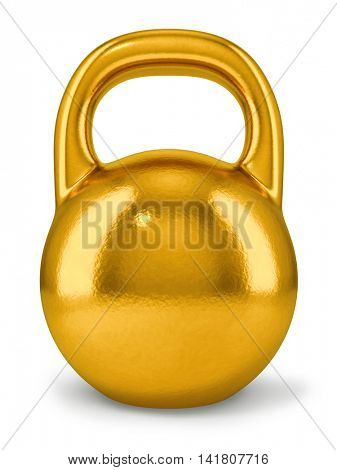 Big golden dumbbell isolated on white background. 3D rendering of retro weight.
