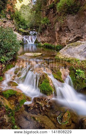 The Cascades d'Akchour in Morocco near Chefchaouen. The Cascades d'Akchour are a 45minute drive from Chefchaouen and they are in the Talassemtane National Park.