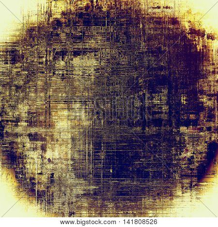 Spherical art grunge background or vintage style texture with retro graphic elements and different color patterns: yellow (beige); brown; blue; purple (violet)