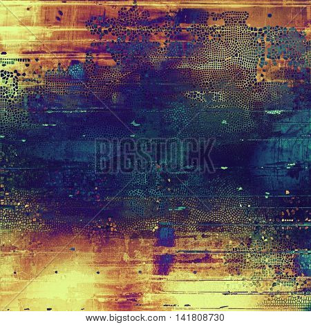 Vintage ancient background or texture with grunge decor elements and different color patterns: yellow (beige); brown; blue; red (orange); purple (violet); pink