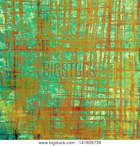 Aged background or texture. Vintage graphic composition with grunge style elements and different color patterns: yellow (beige); brown; green; blue; red (orange); cyan