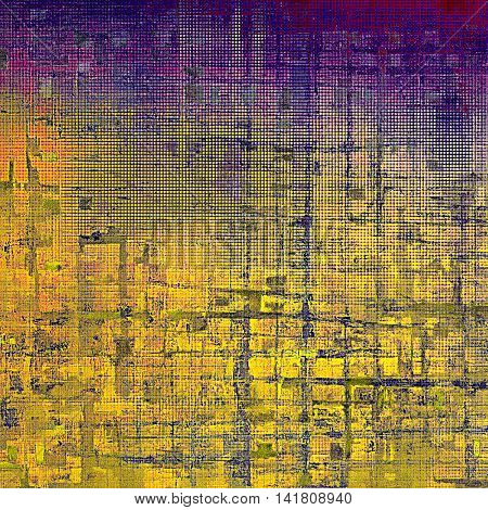 Distressed texture with ragged grunge overlay. Wrinkled background or backdrop with different color patterns: yellow (beige); blue; red (orange); purple (violet); pink