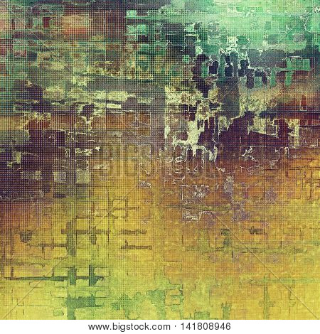 Retro background with vintage style design elements, scratched grunge texture, and different color patterns: yellow (beige); brown; gray; green; purple (violet)
