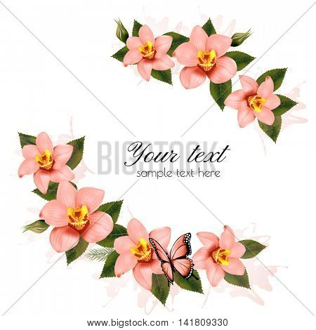 Holiday background with beauty pink flowers. Vector.