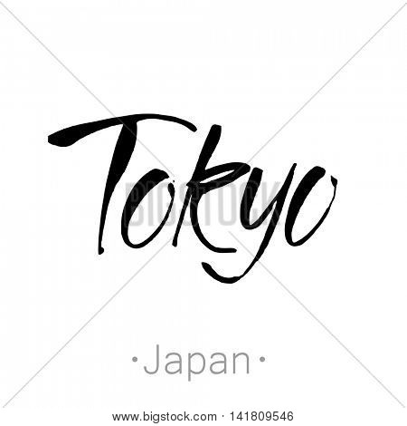 Tokyo, Japan hand-lettering calligraphy. Rome hand drawn vector stock illustration. Modern brush ink. Isolated on white background.