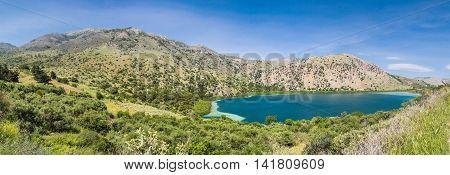 Lake Kournas in Greece on Creete island