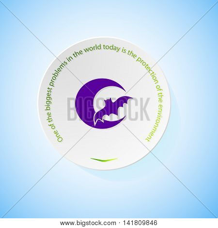 Environmental icons depicting bat with shadow, abstract vector illustration