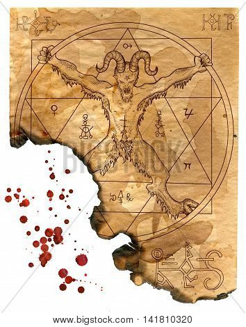 Isolated page of magic book with devil, pentagram and mystic symbols. Hand drawn illustration with bloody drops for Halloween art