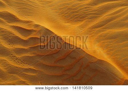 Golden Desert Sand. Liwa Desert, Abu Dhabi, United Arab Emirates. 15th September, 2015
