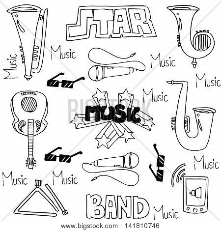 Collection stock music set doodles vector art
