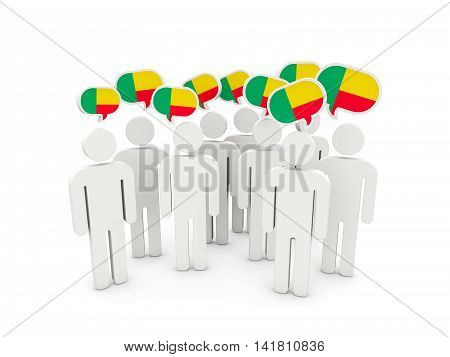 People With Flag Of Benin