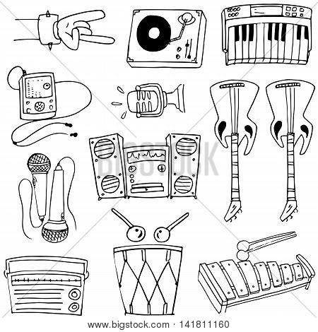 Theme music doodles vector art collection stock