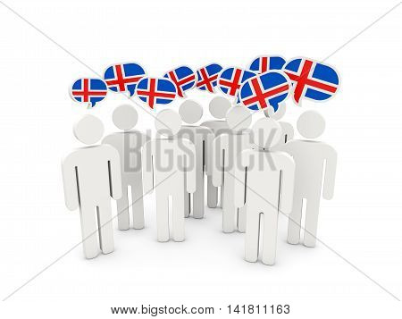 People With Flag Of Iceland
