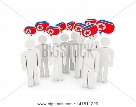 People With Flag Of Korea North