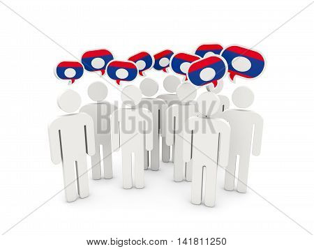 People With Flag Of Laos