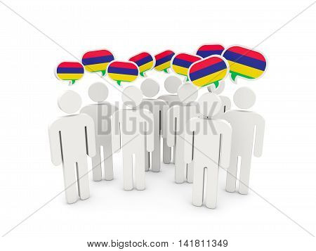 People With Flag Of Mauritius