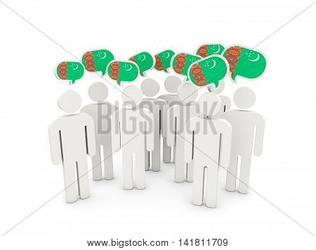 People With Flag Of Turkmenistan