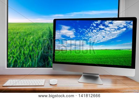 keyboard and mouse on a background nature