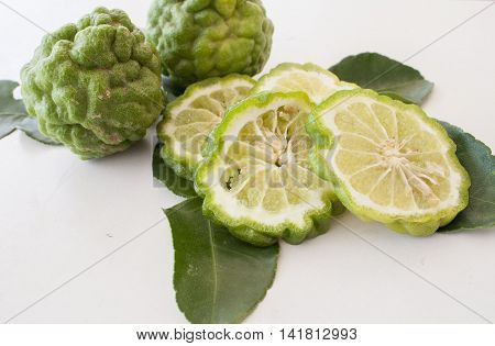 bergamot or lime nature herbal nourish on background white