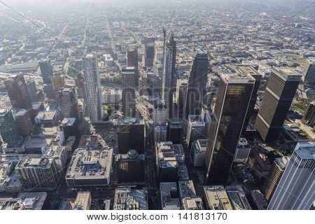 Los Angeles, California, USA - August 6, 2016:  Thick summer smog clouding the downtown skyline view along 7th street..