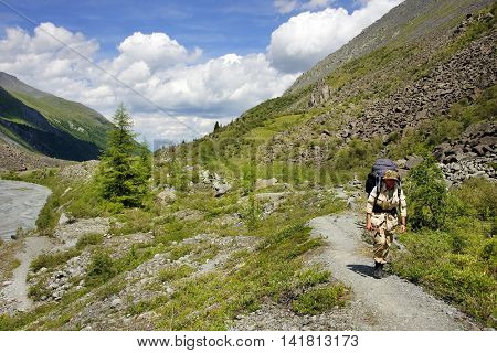Trekker in Altai Mountains, Russian Federation