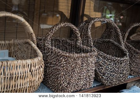 Wicker Bamboo baskets, natural willow baskets as easy industry background