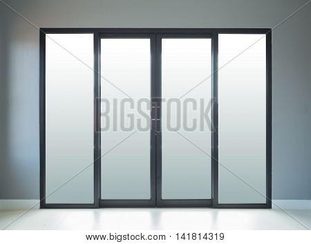 Modern Black Aluminium Door With Wall Background