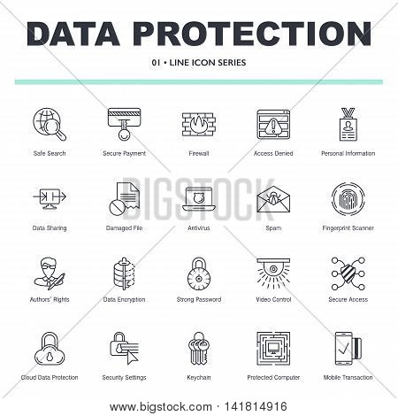 Vector illustration of data protection internet security icons set. Premium quality symbols collection in modern thin line design. Eps10 format pack for web graphics. Simple linear elements isolated on white background.