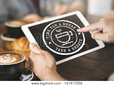 Coffee Break Tea Time Stamp Icon Graphic Concept