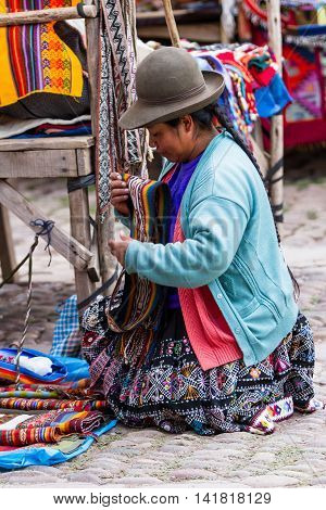 Quechua Woman Selling Crafts