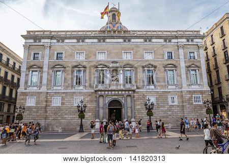 BARCELONA SPAIN - JULY 8 2016: City Hall on Placa de Sant Jaume. The Palau de la Generalitat is a historic palace in Barcelona
