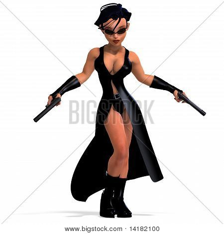 cute and funny female comic spy girl. 3D rendering with clipping path and shadow over white poster