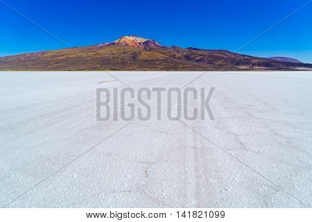 View of Salar de Uyuni the world largest salt flat in Bolivia
