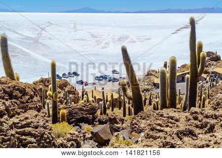 Tourists parking car at Incahuasi Island in Salar de Uyuni Salt Flat for sightseeing and having lunch