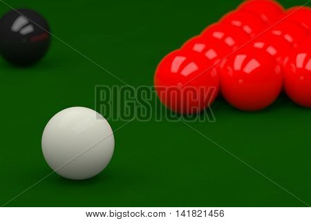 Snooker Balls On Snooker Table, 3D Rendering