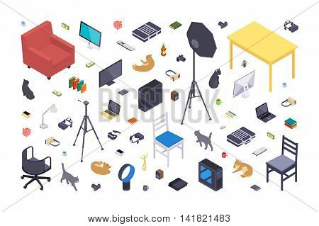 Isometric flat office items against the white background. 3D isometric vector concept illustration