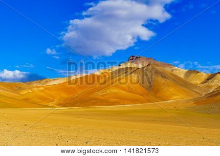 View of colorful mountain and desert in Reserva Nacional De Fauna Andina Eduardo Avaroa Potasi Bolivia
