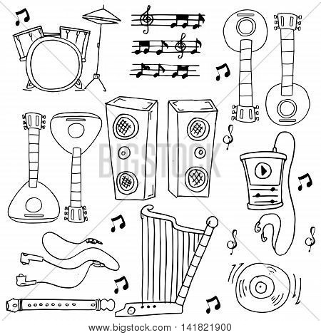Many tool music doodles stock collection vector illustration