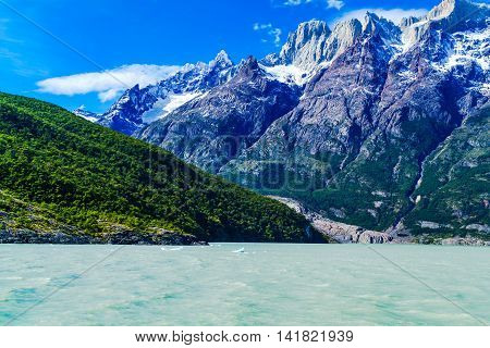 View of mountain and lake in Chilean Patagonia Chile