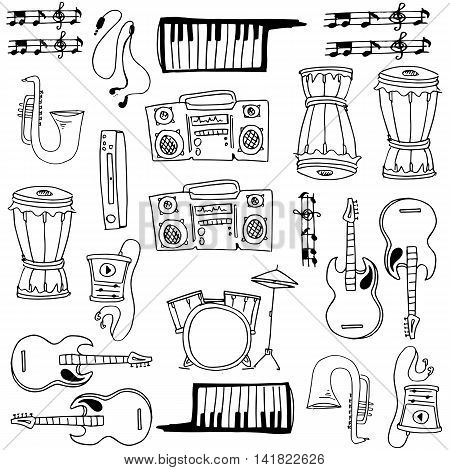 Hand draw music element doodles stock collection