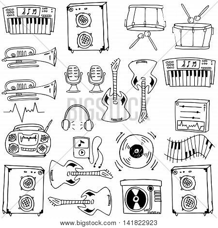Stock collection vector music doodles hand draw