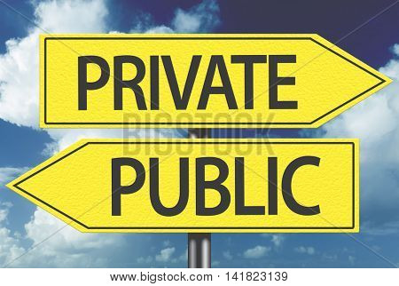 Private x Public yellow sign