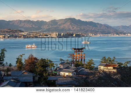 High Angle View Of Great Floating Gate (o-torii) On Miyajima Island, Japan