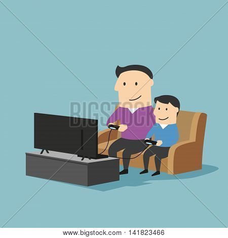 Playful father and son spending time together and playing video games on a game console in living room at home. Great for family time and entertainment concept design. Cartoon style