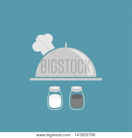 Silver platter cloche chef hat. Salt pepper shaker. Glass container set. Flat design. Blue background. Vector illustration