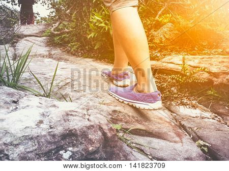 Woman Walking Exercise, Motivational Health Concept, Outdoors.